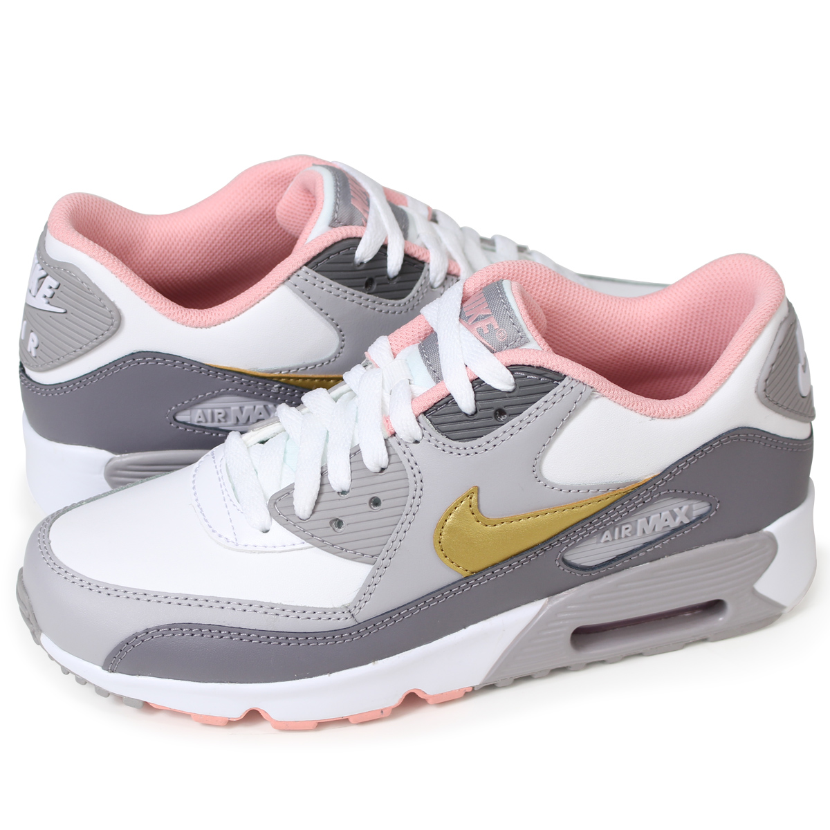 NIKE AIR MAX 90 LEATHER GS Kie Ney AMAX 90 Lady's sneakers 833,376 011 gray [512 Shinnyu load]
