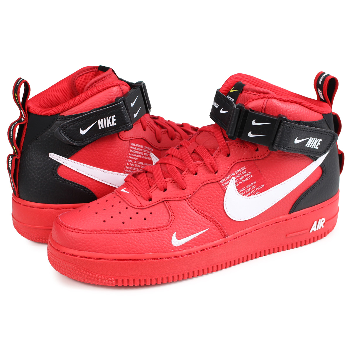 NIKE Air Force 1 Mid 07 Lv8 Mens Trainers Red Black 10 UK