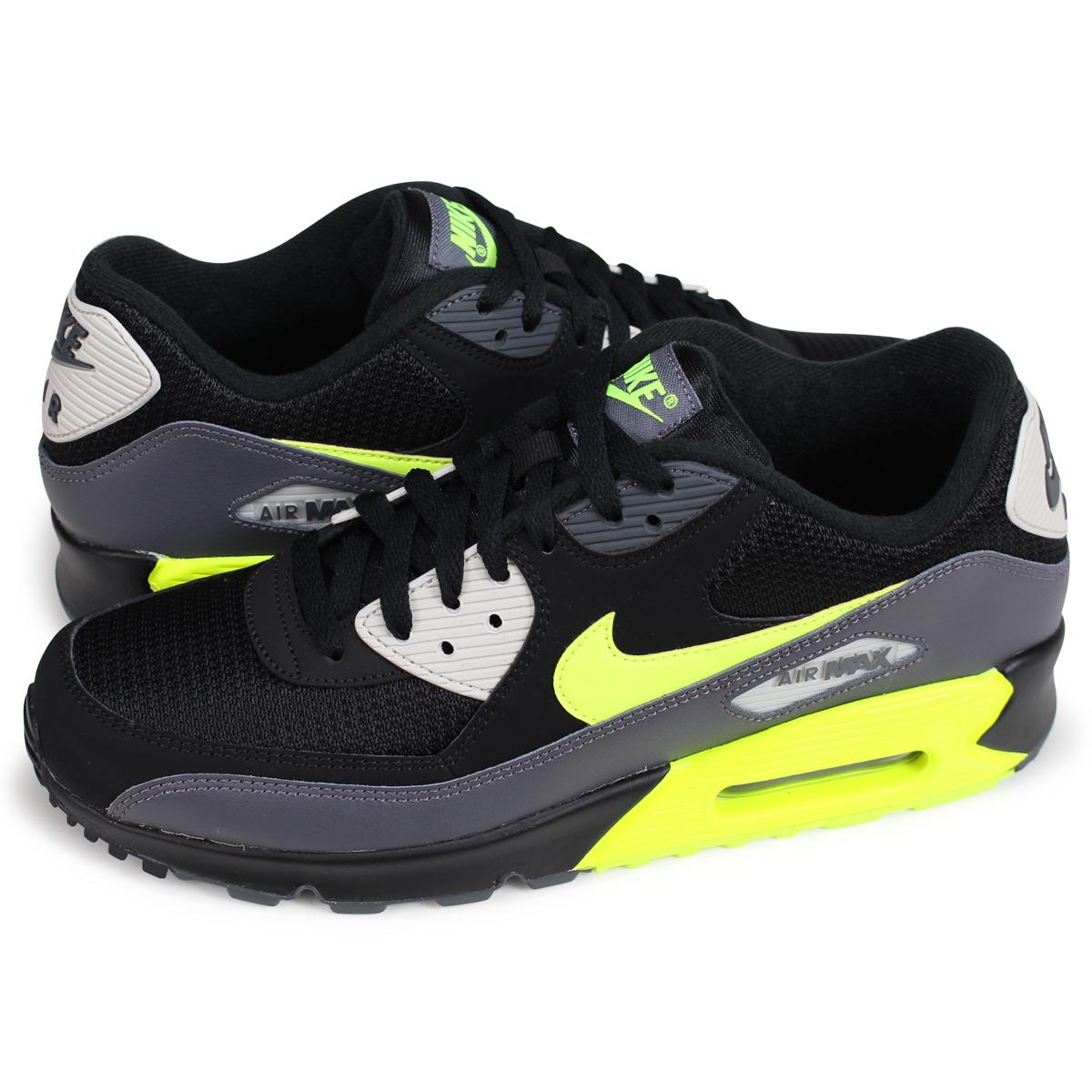 2019 Nike Air Max 90 Essential Dark GreyVoltBlackBone Running Shoes AJ1285 015
