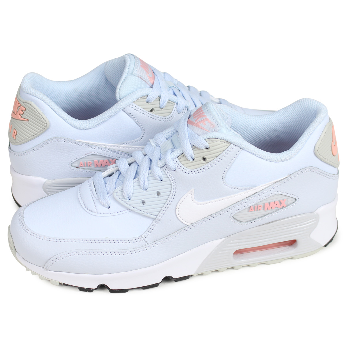 Nike NIKE Air Max 90 sneakers Lady's AIR MAX 90 LEATHER GS light blue 833,376 406