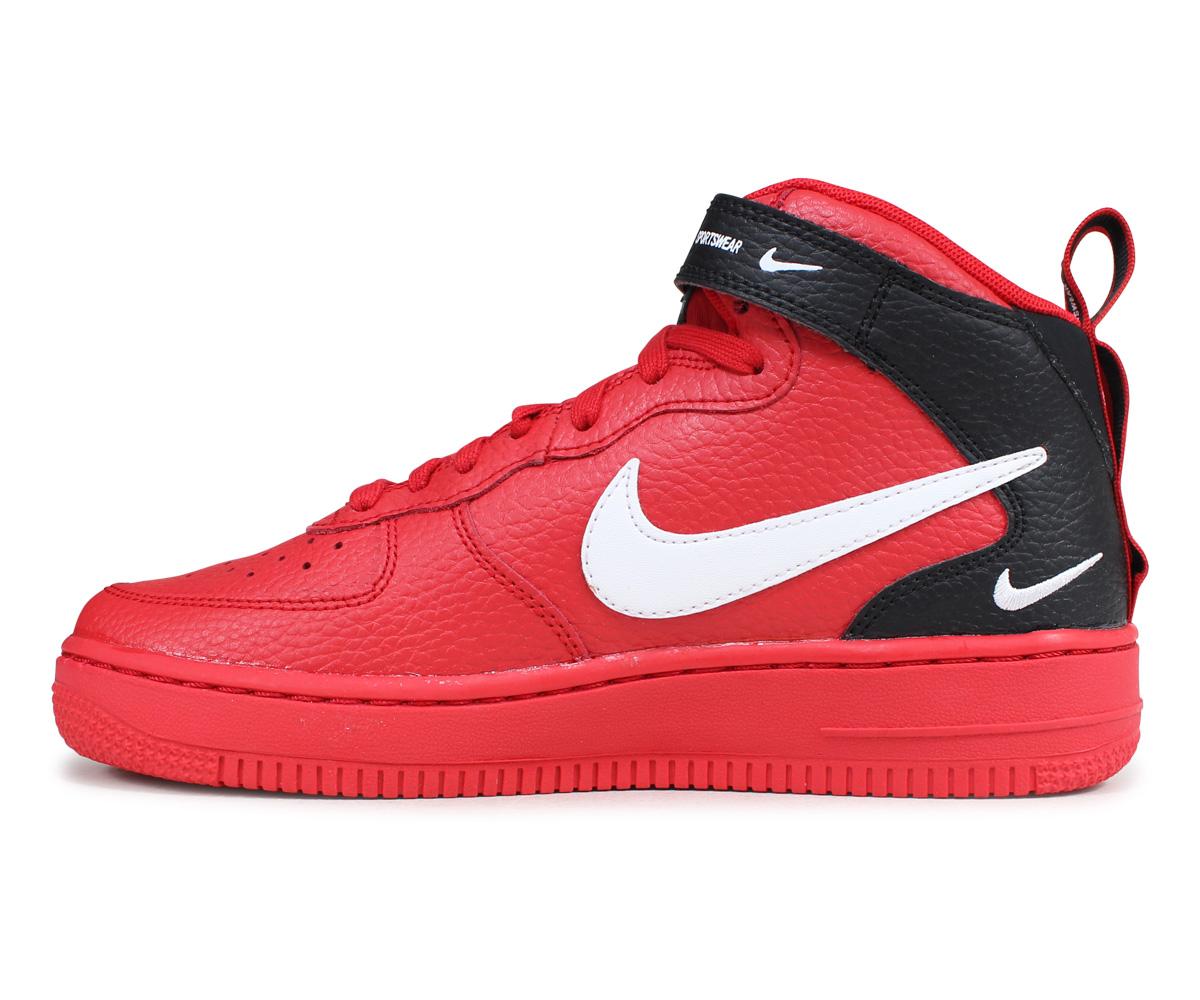 Nike NIKE air force 1 sneakers Lady's AIR FORCE 1 MID LV8 GS red AV3803 600