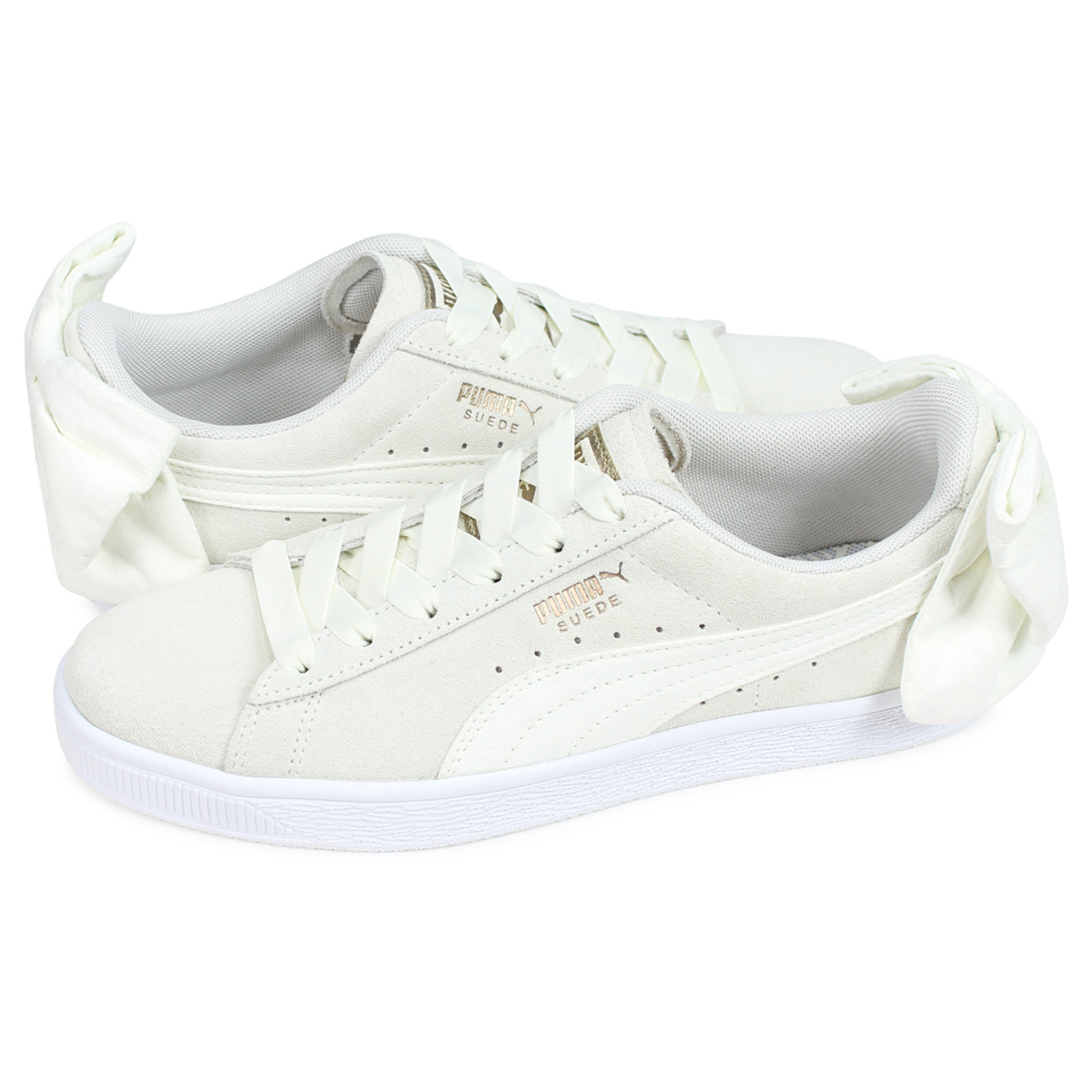 new product b4584 373b8 PUMA WMNS SUEDE BOW Puma suede bow tie sneakers Lady's off-white 36677902
