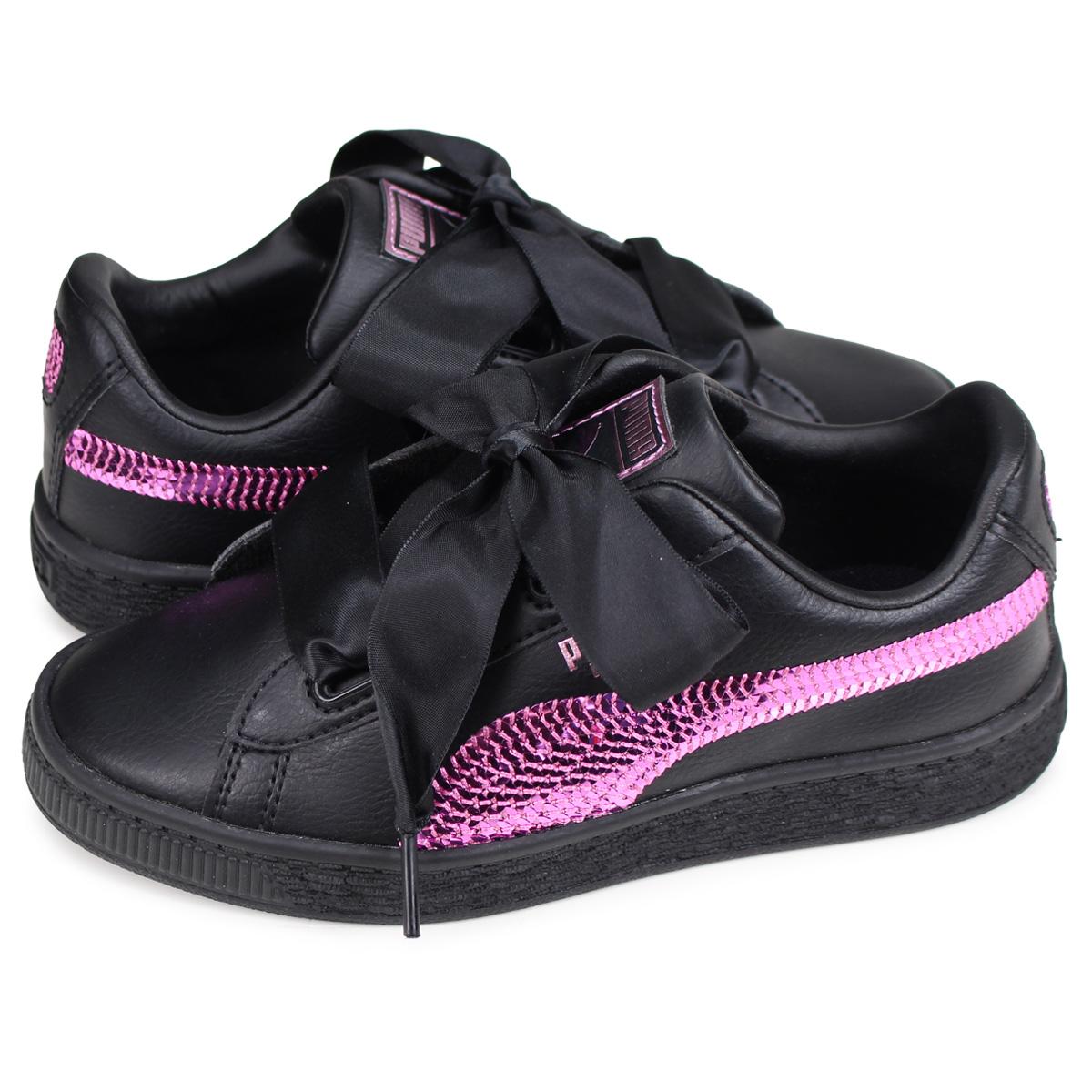 finest selection f798d 39752 PUMA BASKET HEART BLING PS Puma basket heart sneakers kids black black  36684801