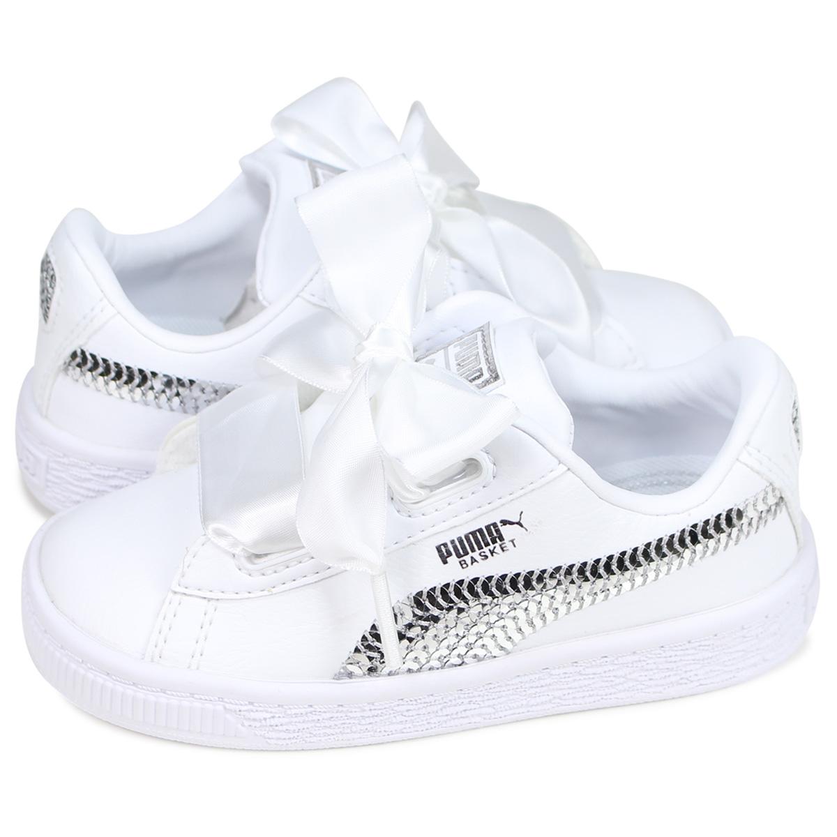 on sale 6d542 246ca PUMA BASKET HEART BLING INF Puma basket heart sneakers baby kids white  white 36684902 [6/21 Shinnyu load]