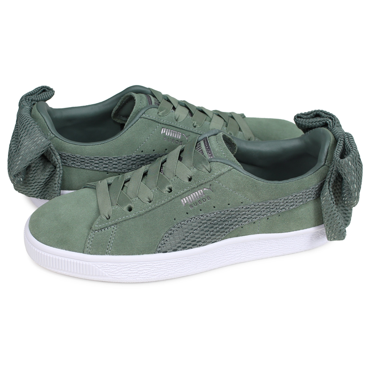 PUMA WMNS SUEDE BOW UPRISING Puma suede bow tie sneakers Lady's green 36745502