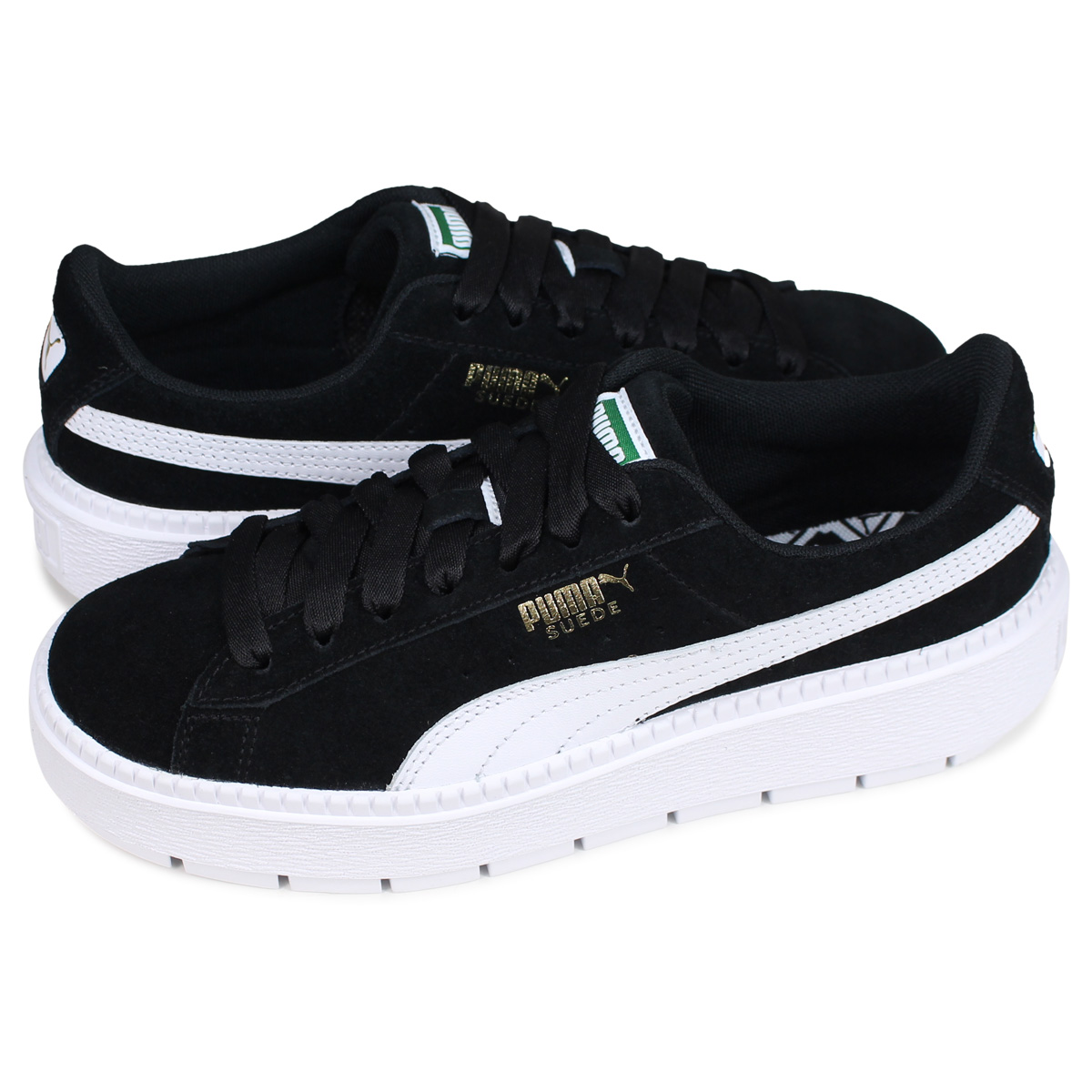 premium selection 19bd3 4b468 PUMA WMNS SUEDE PLATFORM TRACE MU Puma suede platform sneakers Lady's  thickness bottom black black 36798001
