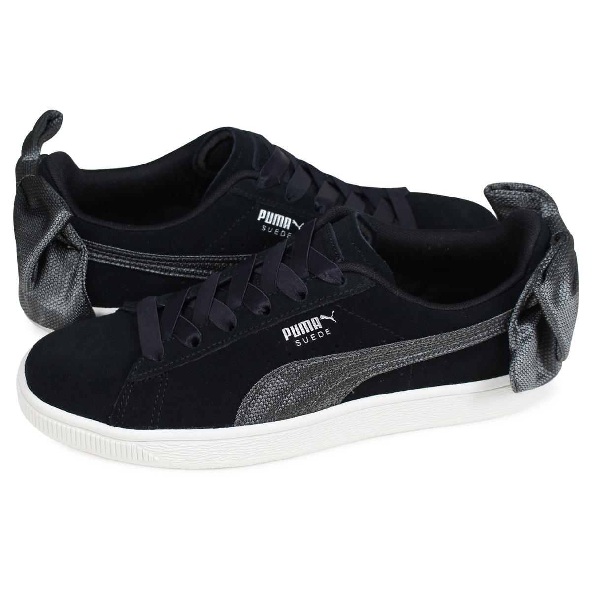 PUMA WMNS SUEDE BOW HEXAMESH Puma suede bow tie sneakers Lady's black black 36915104