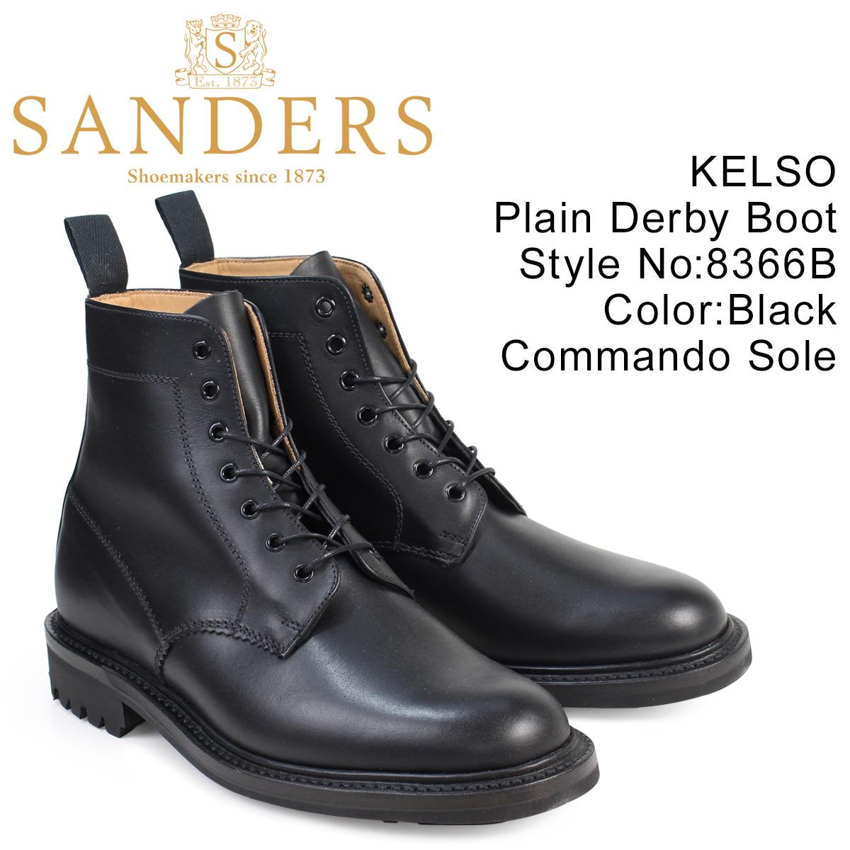 SANDERS KELSO サンダース 靴 ミリタリー ダービー ブーツ プレーントゥ 8366B メンズ ブラック