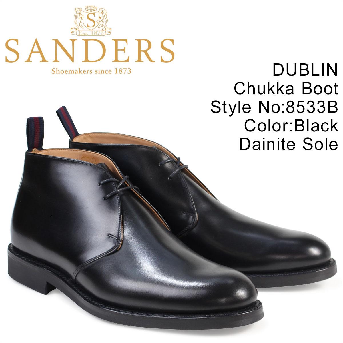 SANDERS DUBLIN サンダース 靴 ミリタリー チャッカブーツ ビジネス 8533B メンズ ブラック