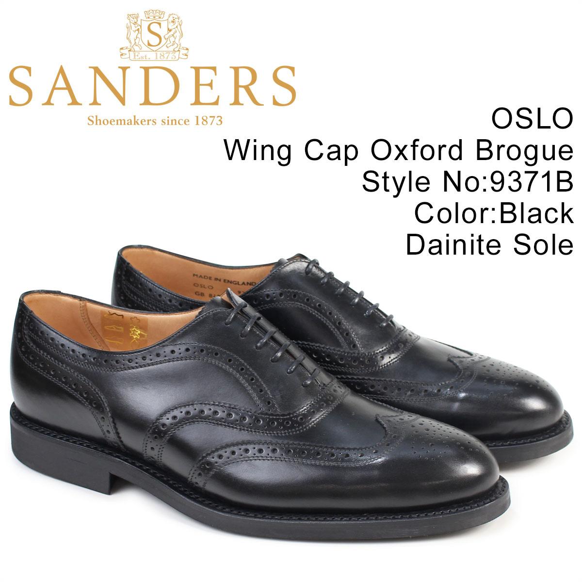 SANDERS OSLO サンダース 靴 ミリタリー オックスフォード シューズ ウイングチップ ビジネス 9371B メンズ ブラック