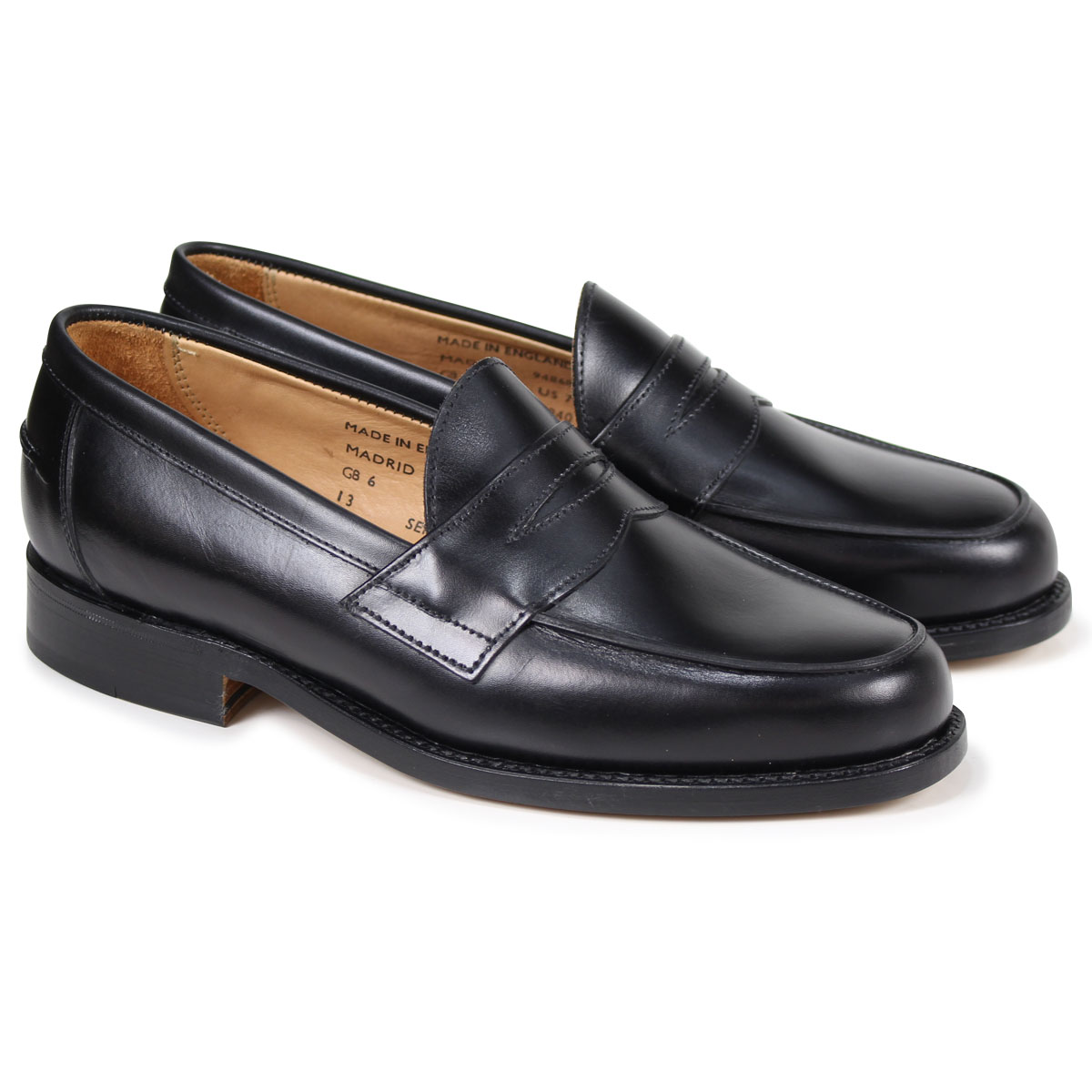SANDERS MADRID BUTT SEAM LOAFER サンダース 靴 ペニーローファー メンズ ブラック 9486B
