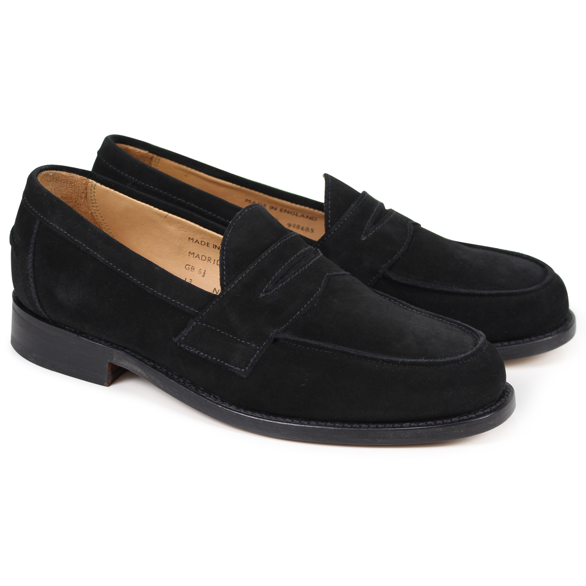 ca199b1c8cf5 SANDERS MADRID PENNY LOAFER Sanders shoes penny loafer men suede black  9486BS  3 22 Shinnyu load