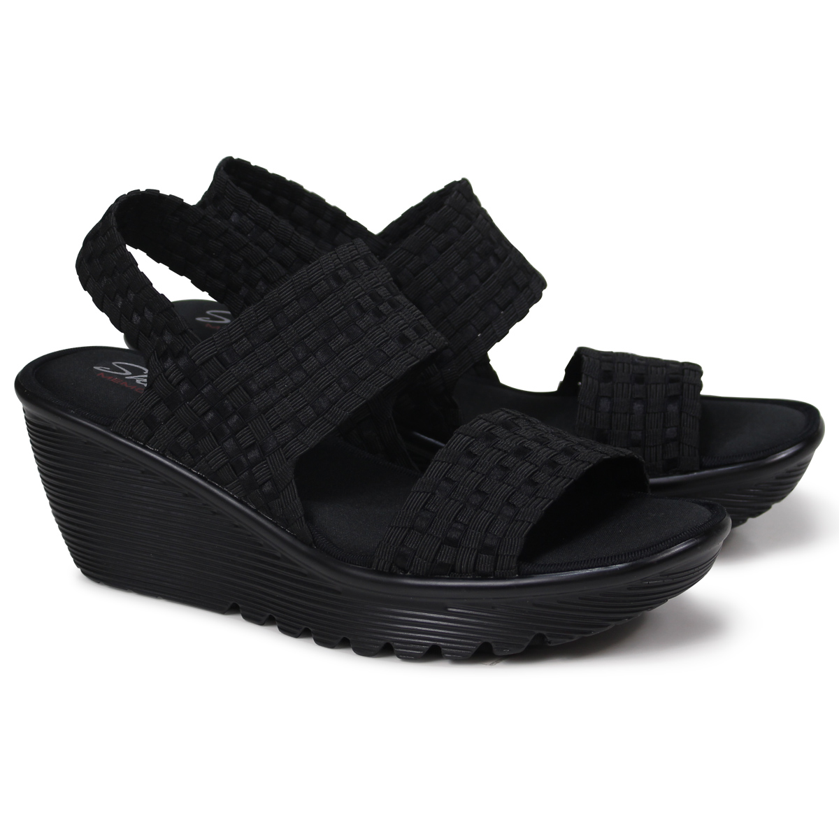 fa96b897b838 スケッチャーズ SKECHERS parallel Lady s sandals thickness bottom PARALLEL  TUMBLEWEAVE 38659 black  load planned Shinnyu load in reservation product  5 19 ...