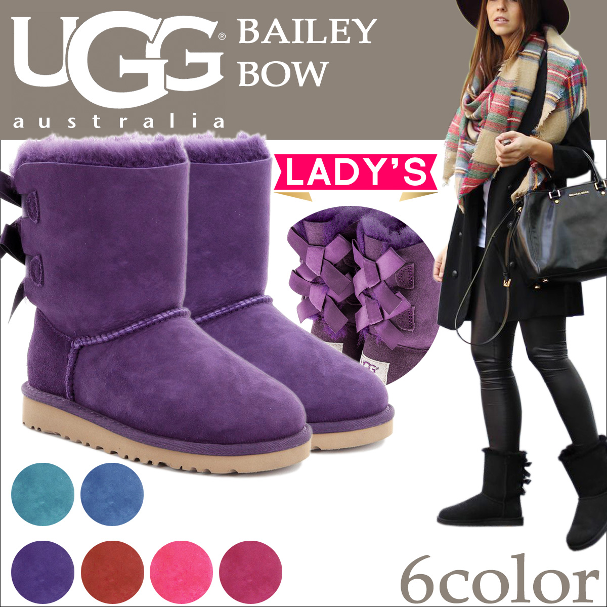 UGG UGG Bailey bow boots WOMENS BAILEY BOW 1002954 ladies