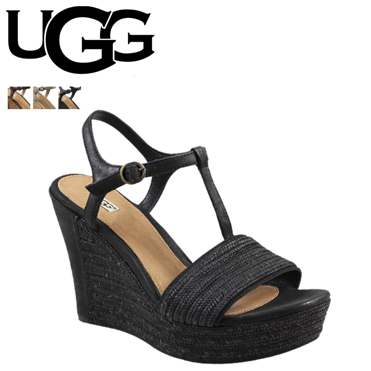 UGG UGG Fiche Sandals wedge Sandals WOMENS FITCHIE 1006844 leather jute ladies
