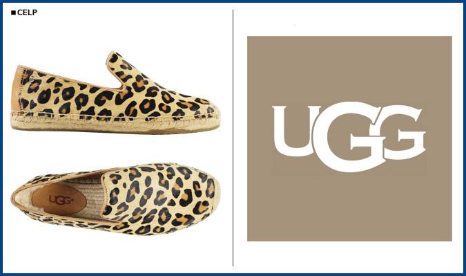 UGG UGG 桑德琳滑鞋女性 SANDRINNE 小牛頭髮豹高坡 1007148 豹小牛女性