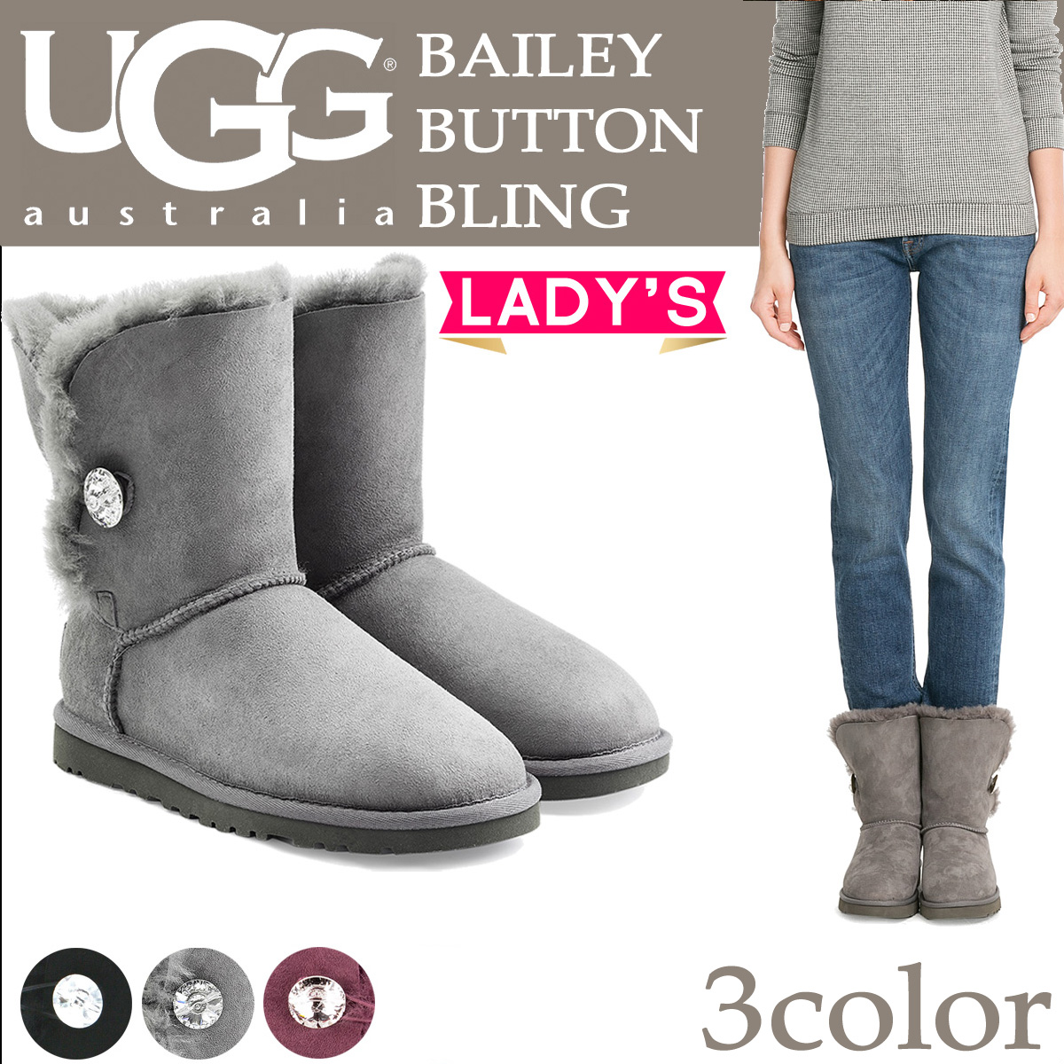 UGG UGG Bailey button boots WOMENS BAILEY BUTTON BLING 3349 Sheepskin ladies
