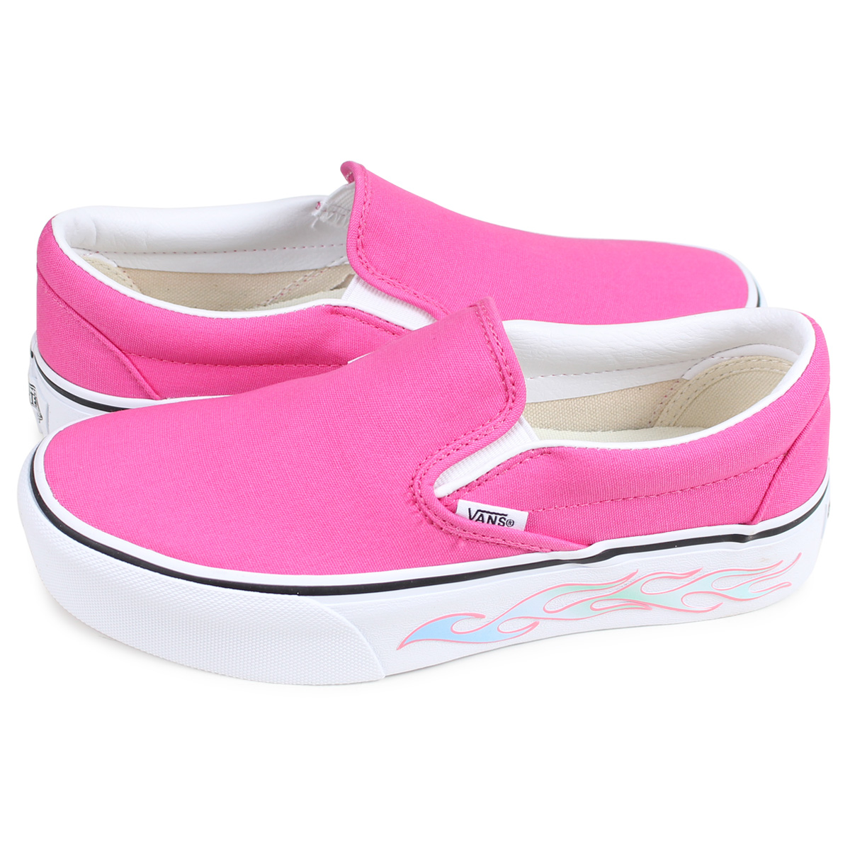 VANS CLASSIC SLIP-ON PLATFORM SIDEWALL FLAME vans slip-ons classical music  sneakers Lady's station wagons pink VN0A3JEZVN6