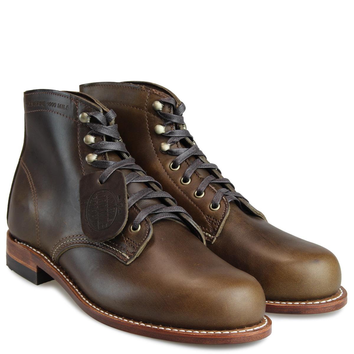 cca41a357eb WOLVERINE ORIGINAL 1000 MILE BOOT ウルヴァリンブーツメンズ D Wise W40387 dark olive  work boots [11/2 Shinnyu load]