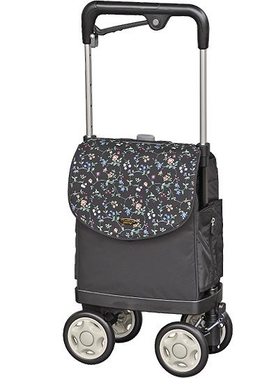 ウォーキングキャリー アイカート2-F 【小花ブラック】 シルバーカー・歩行器! 品番4938643202528