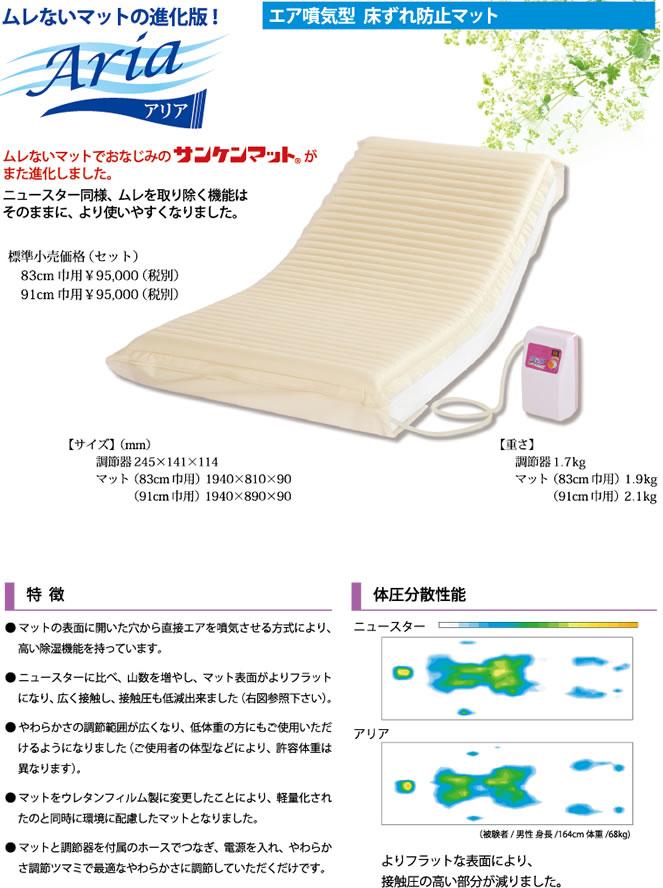 床ずれ防止エアマット・新型エアマット Aria / アリア・エア噴気型・三和化研工業83cm・91cm