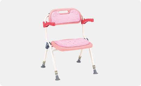 入浴用椅子・シャワーイス・シャワーチェア・カラフルシャワーベンチ・肘はねあげ折りたたみシャワー椅子・松永製作所・SC-31・ピンク【折りたたみシャワーいす】