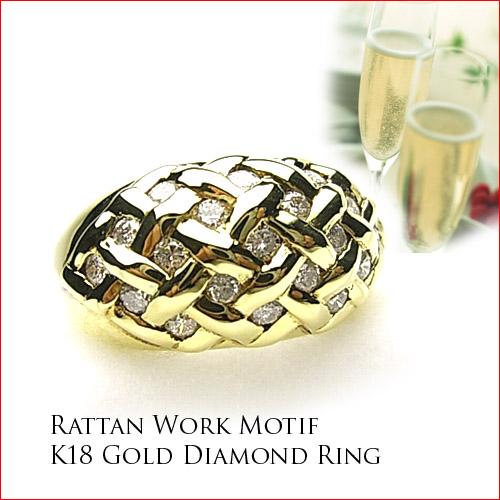 K18イエローゴールド ダイヤモンドリング  しっかりした作り 10P20Feb09