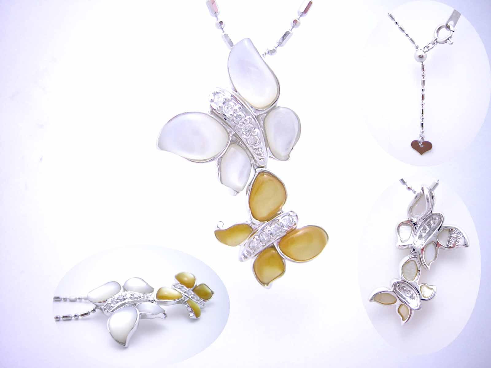チョウチョの蝶貝ペンダント 【tokai1106sale】