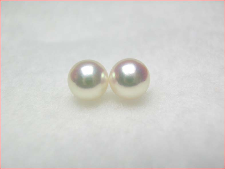 ピンクあこや真珠  きれいなそろった7.4ミリペア 【送料無料1225】