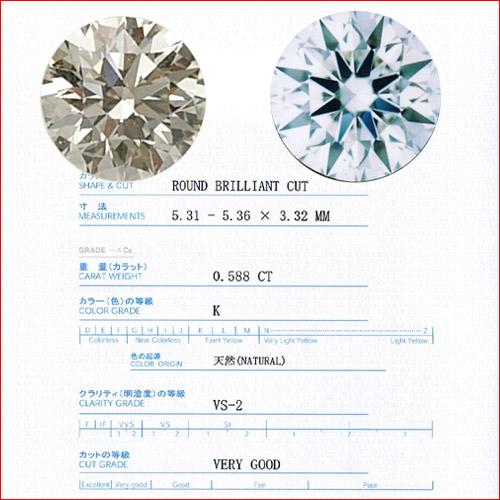 ダイヤモンドルース K VS2 VG 0.588ct 中宝研鑑定書付属