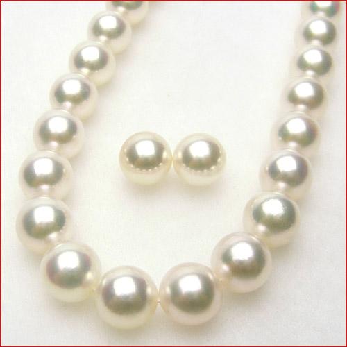 即納 花珠鑑定書付 8.5-9ミリあこや真珠 とペア珠セット