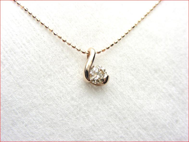 K18ピンクゴールド ダイヤモンドペンダント ピンクゴールドの優しい雰囲気!10P05feb10