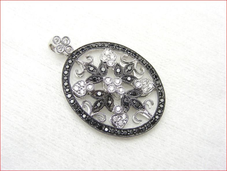 ブラックダイヤモンド 使いの フラワーモチーフダイヤモンドペンダントトップ  0619PUP10JU