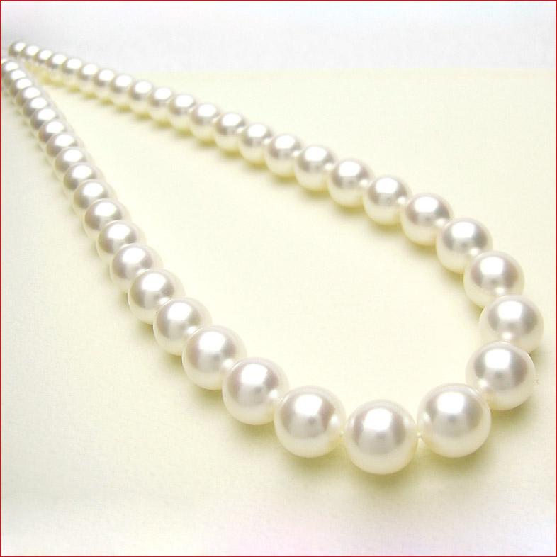 シルクのようななめらかなあこやホワイトピンク真珠ネックレス 特別仕様 8.5-9ミリ