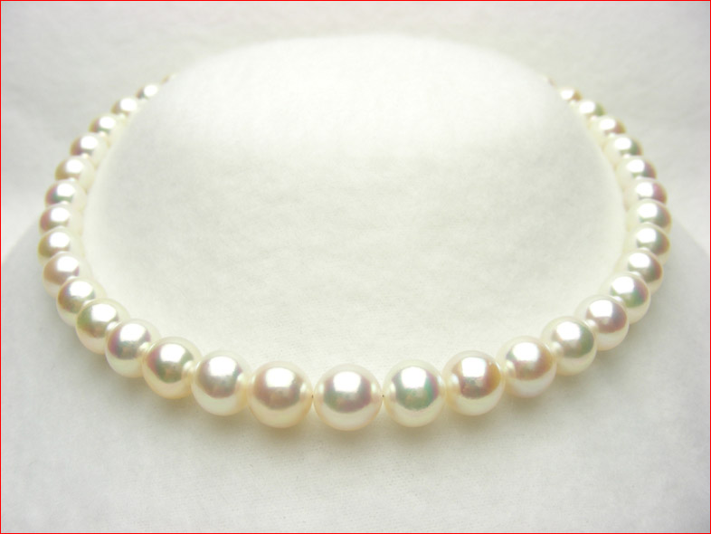 一粒一粒がレインボーカラー 大ぶり9-10.3ミリのあこや真珠ネックレス余り見かけないサイズ 0619PUP10JU