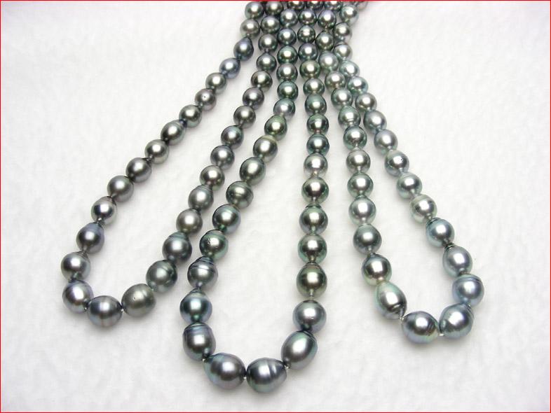 タヒチパールネックレス テリテリの ALL10Feb09 スペシャルプライス 味のある黒真珠バロックパール ブルーイッシュグレー