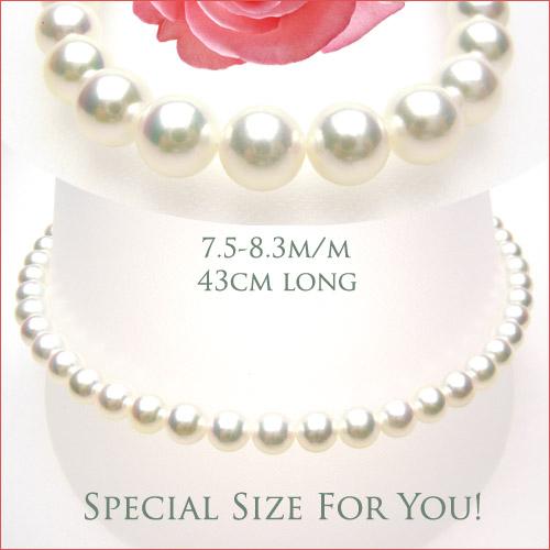 アコヤブルーイッシュピンクの最高級品質!あこや真珠7.5-8ミリネックレス \330000→\198000 新入荷