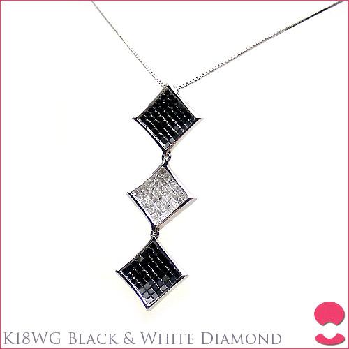 ペンダント 10P05feb10 ダイヤモンド K18WG ブラック&ホワイト
