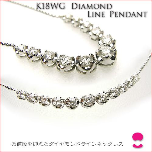 あまり派手にならず、出番が多くなる ダイヤモンドラインネックレス