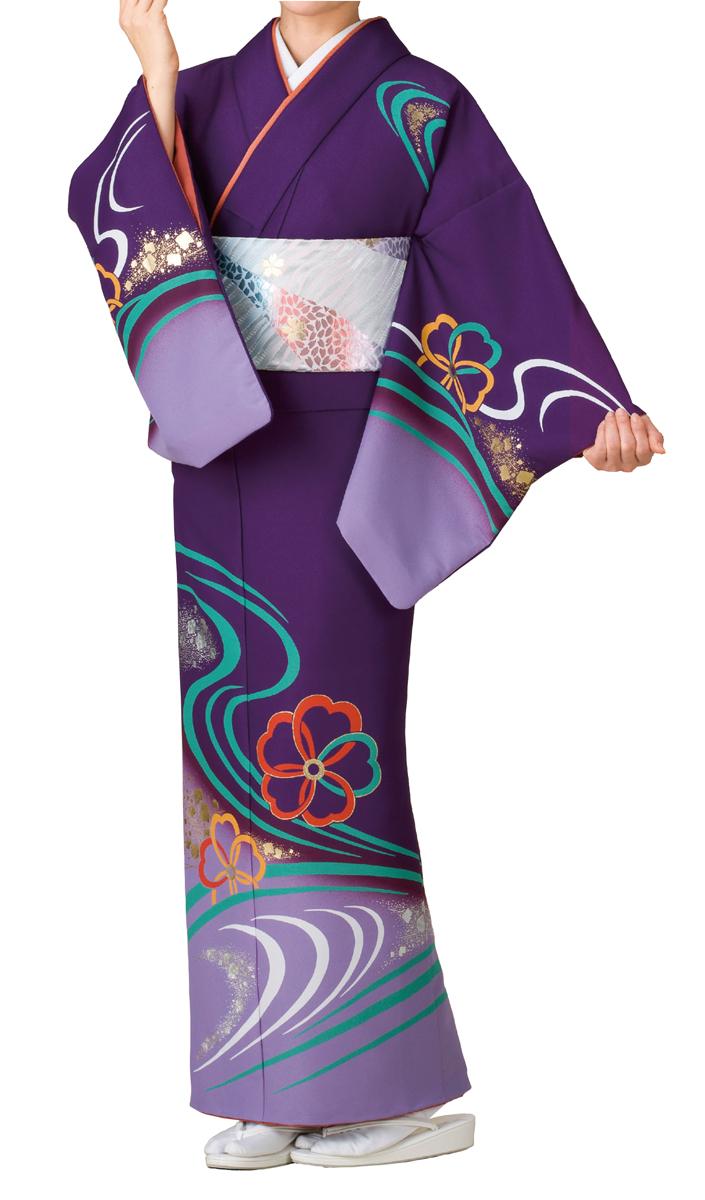 踊り衣裳 絵羽きもの【反物】 流線に花輪柄 紫地