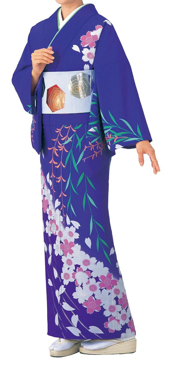 踊り衣裳 絵羽きもの【反物】 しだれ桜柄 紫地