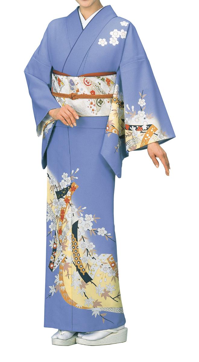 踊り衣裳 絵羽きもの【反物】 のしめに桜柄 うす藤地