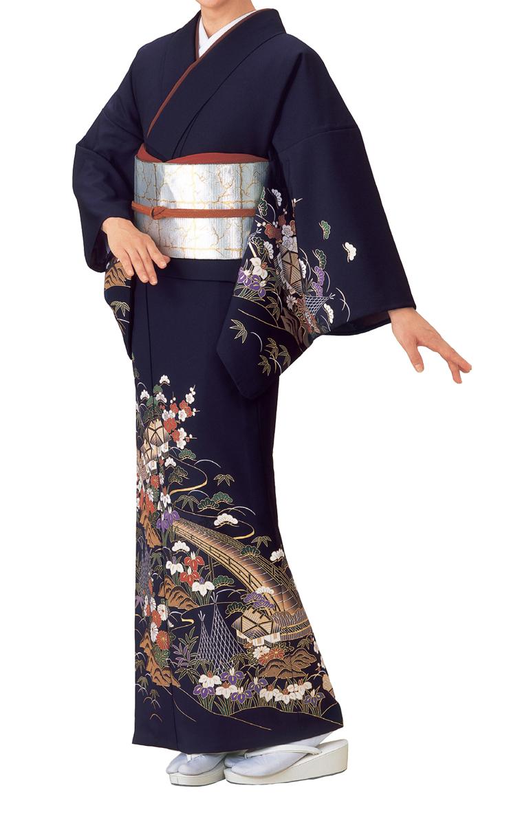 踊り衣裳 絵羽きもの【反物】 風景柄 紫地