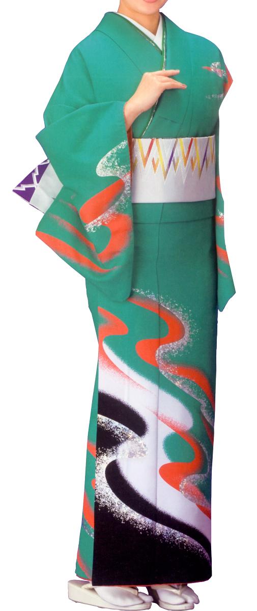 踊り衣裳 絵羽きもの【反物】 流水柄 緑地 ホログラム箔使用