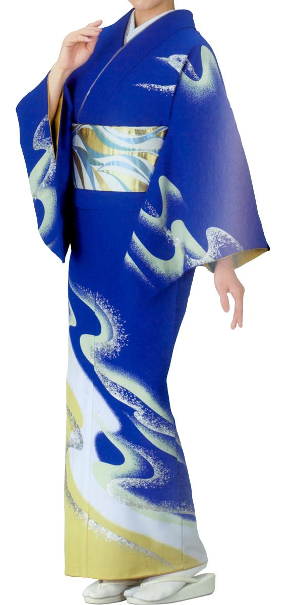 踊り衣裳 絵羽きもの【反物】 流水柄 紺地 ホログラム箔使用