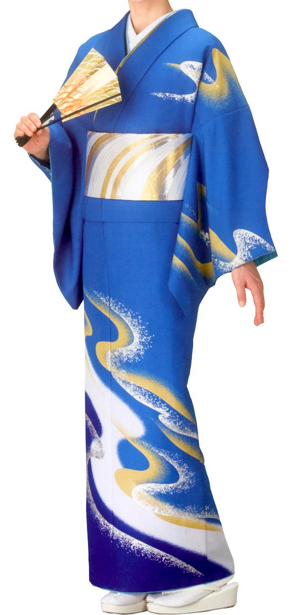 踊り衣裳 絵羽きもの【反物】 流水柄 青地 ホログラム箔使用