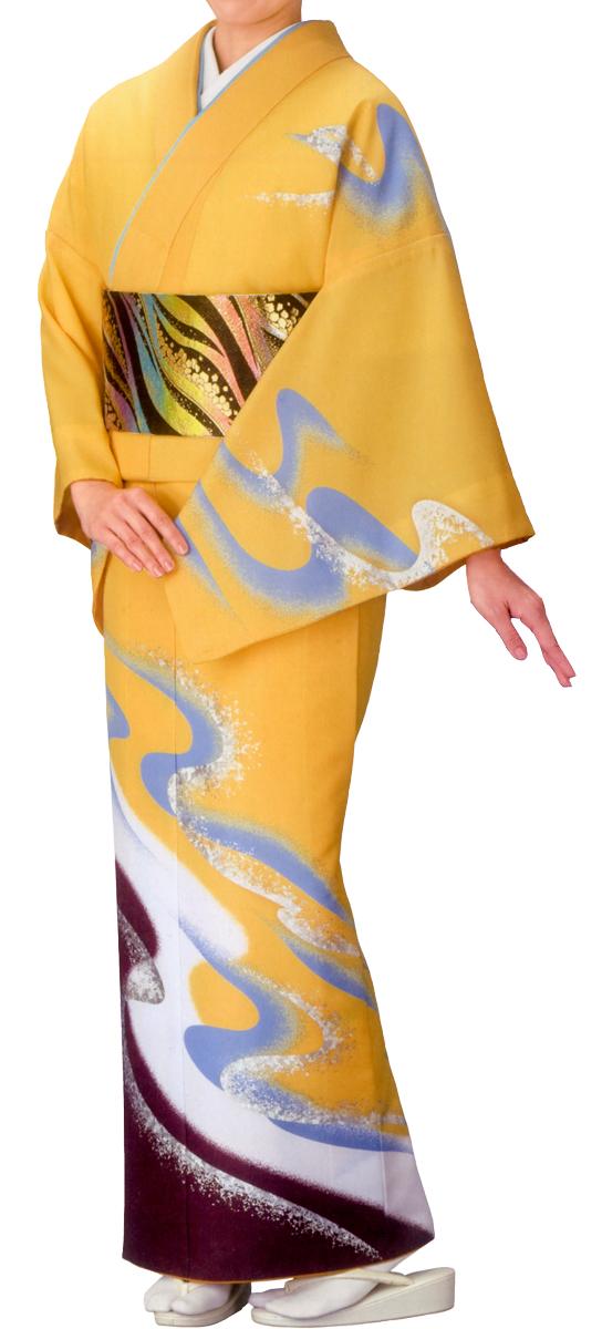 踊り衣裳 絵羽きもの【胴抜仕立上り】 流水柄 黄色地 ホログラム箔使用