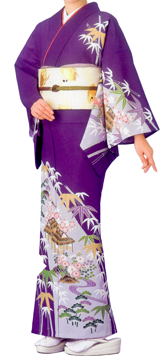 踊り衣裳 絵羽きもの【反物】 竹柄 紫地