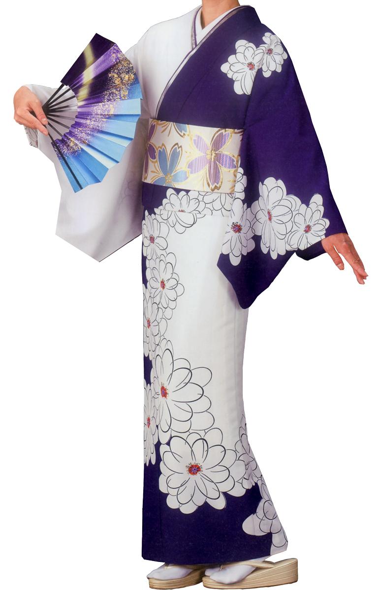 踊り衣裳 絵羽きもの【反物】 花柄 白・紫地