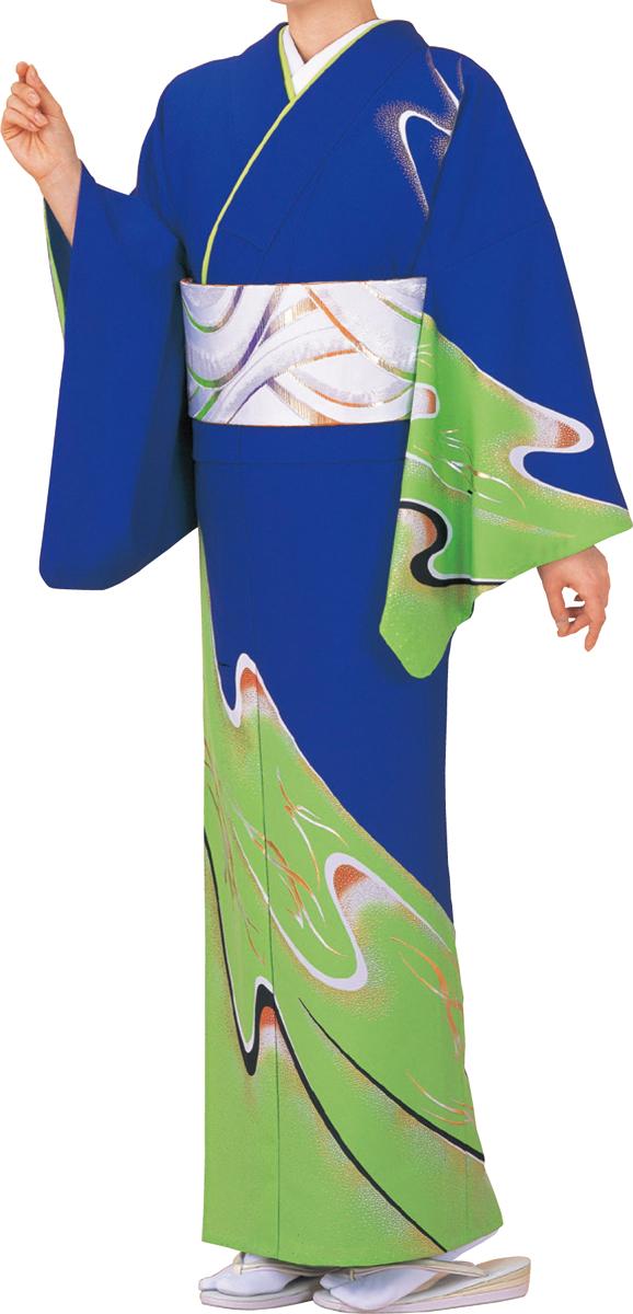 踊り衣裳 絵羽きもの【反物】 流線柄 青・黄緑地